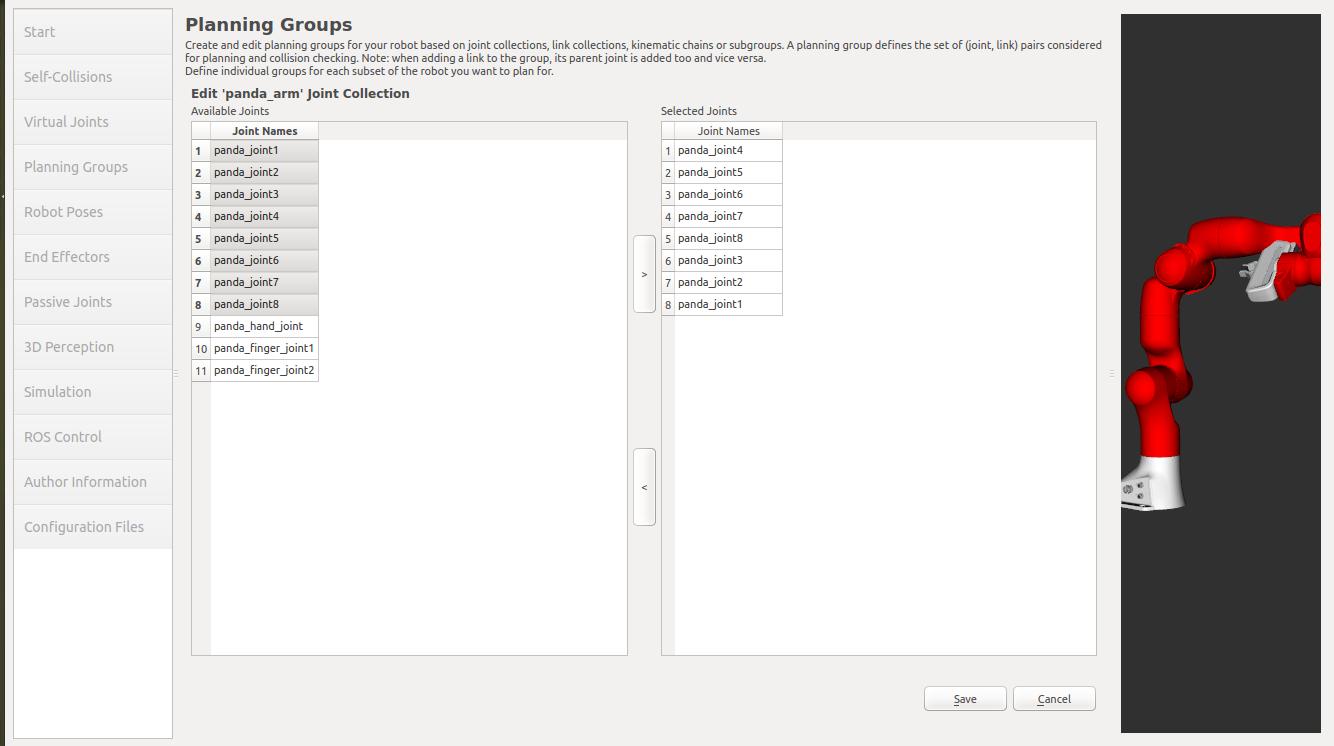 MoveIt! Setup Assistant — moveit_tutorials Kinetic documentation